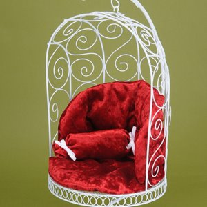 1/4 Scale Bird Cage Style Iron Chair (White/Red)