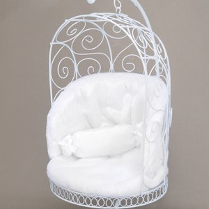 1/4 Scale Bird Cage Style Iron Chair (White/White)