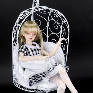 1/4 Scale Bird Cage Style Iron Chair only (White)