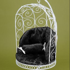 1/4 Scale Bird Cage Style Iron Chair (White/Black)
